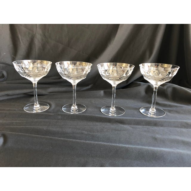 Hollywood Regency Midcentury Floral Etched Clear Champagne Glasses S/4 For Sale - Image 3 of 4