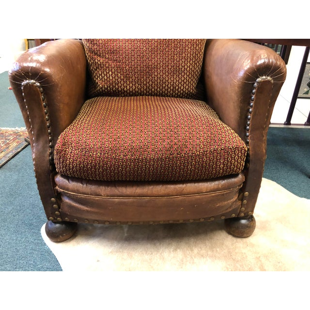 Wood 1930's French Leather Chairs For Sale - Image 7 of 9