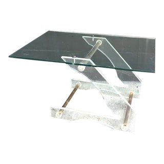Hollywood Regency Lucite Z Table With Copper Tube Inserts For Sale