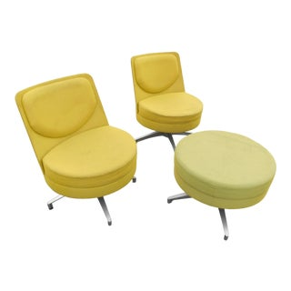 "1980s Vintage Steelcase Coalesse ""Topo"" Swivel Lounge Chairs & Ottoman- 3 Pieces For Sale"