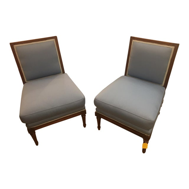 Wooden Framed Blue Slipper Chairs - a Pair For Sale