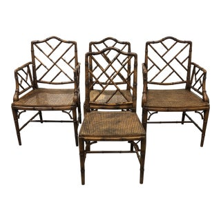 Chippendale Faux Bamboo Chairs - Set of Four For Sale