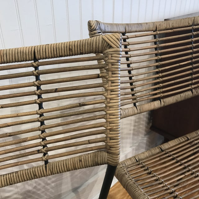 Modern Rattan and Wrought Iron Dining Side Chairs- 2 Left For Sale - Image 4 of 11