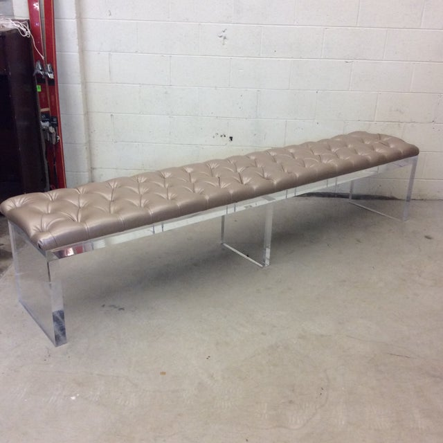 Hollywood Regency Monumental Leather Tufted Lucite Bench For Sale - Image 3 of 11
