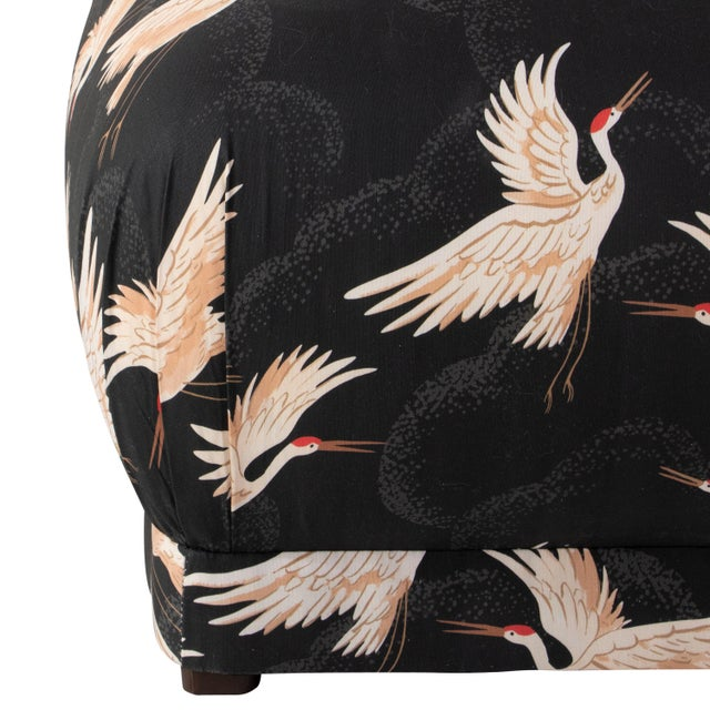 Art Deco Square Ottoman in Crane Flock Ink Oga For Sale - Image 3 of 5