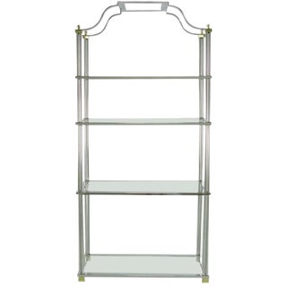 Chrome and Brass Canopied Four-Shelf Etagere For Sale