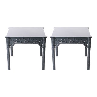 Pair of Wood Side Tables with Branch Detailing, C. 1960 For Sale
