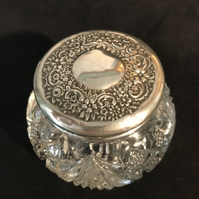1930s Art Deco Cut Crystal Silver Lid Vanity Jar - Image 3 of 5