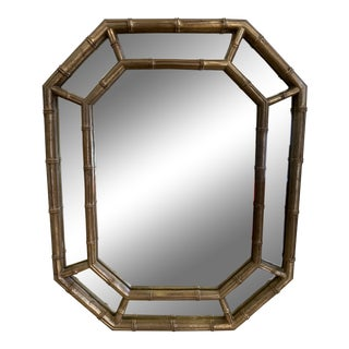 Mid-20th Century Bamboo Style Distressed Gold Wall Mirror For Sale