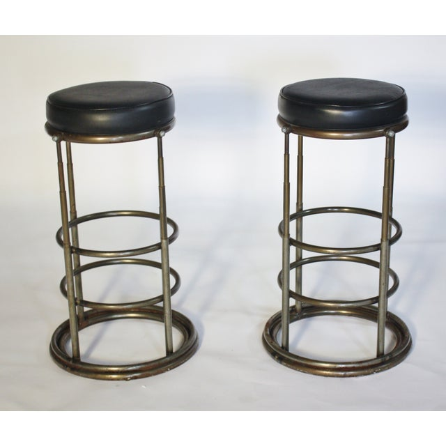 Machine Age Industrial Bar Stools - A Pair - Image 3 of 6