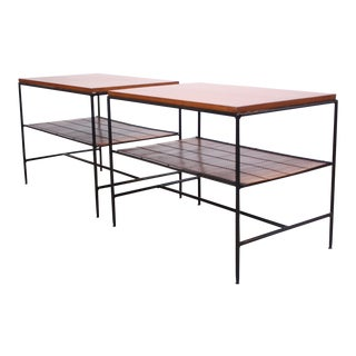Pair of Paul McCobb 'Planner Group' Iron and Maple Occasional Tables For Sale