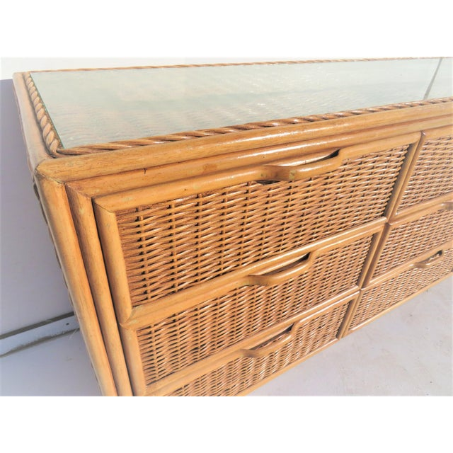 Bamboo & Wicker 9-Drawer Dresser For Sale - Image 5 of 5