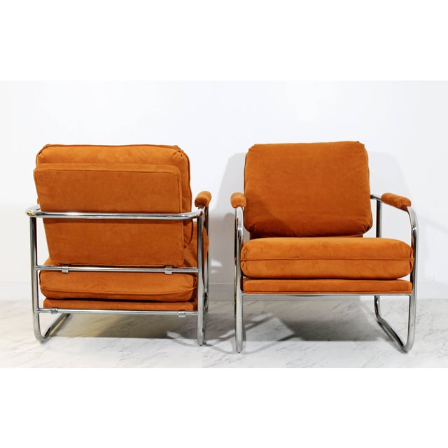 Mid-Century Modern Pair of Tubular Chrome Lounge Chairs and Ottoman For Sale In Detroit - Image 6 of 11