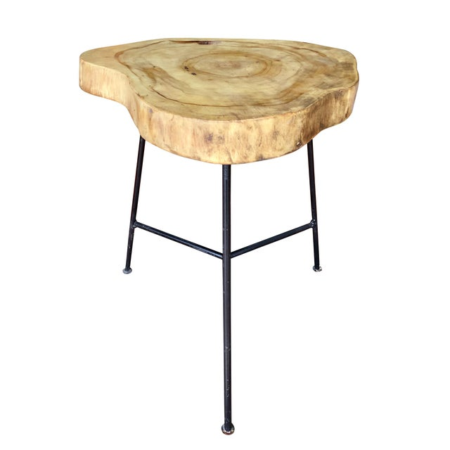 Rustic Live Edge Pine Slab End Table For Sale - Image 13 of 13