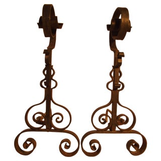 C1920's Hand-Forged Wrought Iron French Fireplace Andirons For Sale