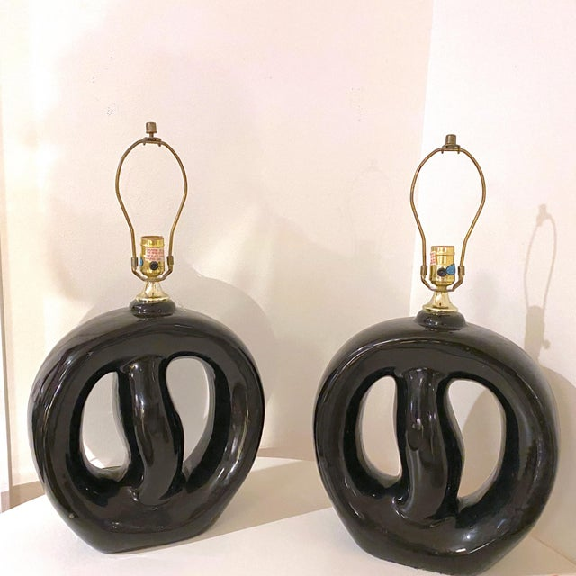 Black Mid-Century Modern Black Glaze Pottery Sculptural Table Lamps - a Pair For Sale - Image 8 of 8