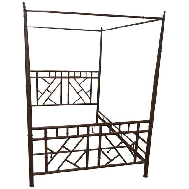 Mid 20th Century Vintage Chinese Chippendale Faux Bamboo Metal King-Size Canopy Bed For Sale - Image 5 of 5