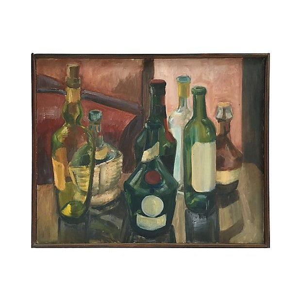 French Vintage 1970s French Wine Bottles Still Life Oil Painting For Sale - Image 3 of 5