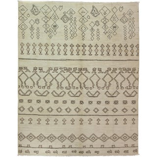 "Moroccan Hand Knotted Area Rug - 7'8"" X 9'10"" For Sale"