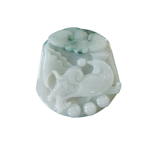 Jadeite Jade Carved Pendant W / Bird - Image 4 of 9