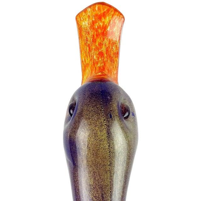 Poli Seguso Murano Rainbow Gold Flecks Italian Art Glass Duck Centrepiece Vase For Sale In Orlando - Image 6 of 11