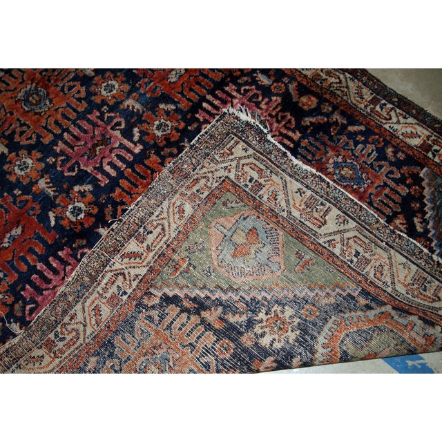 Navy Blue 1910s, Handmade Antique Persian Malayer Rug 4.1' X 6.3' For Sale - Image 8 of 11