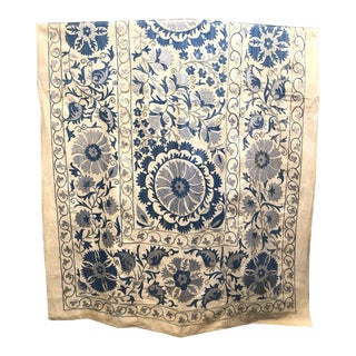 Blue Woven Suzani Textile Art For Sale