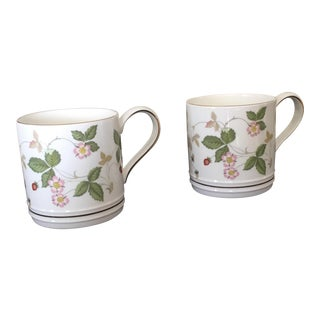 Wedgewood Strawberry Pattern Coffee Cups - a Pair