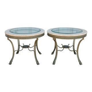 Fossil Stone & Glass Gueridon End Tables With Hooved Feet - a Pair For Sale