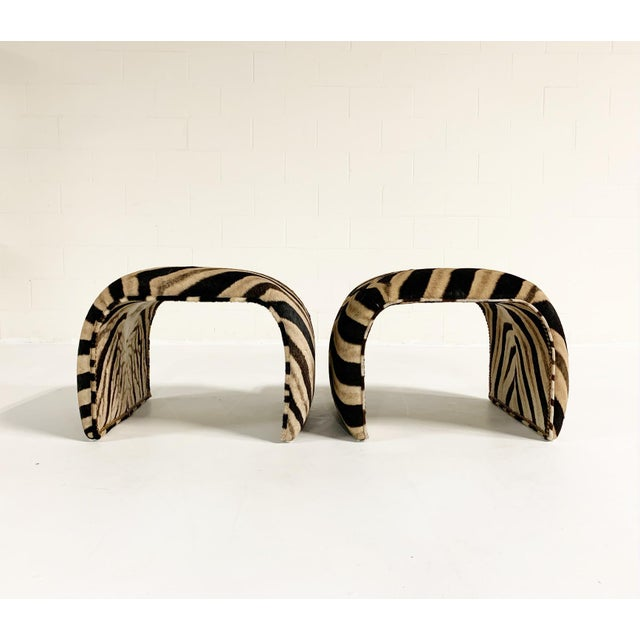 Waterfall Ottomans in Zebra Hide, Pair For Sale - Image 4 of 9