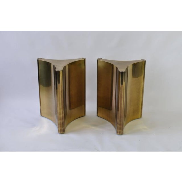Mastercraft Pair of Mastercraft Brass Dining Table Pedestals For Sale - Image 4 of 7