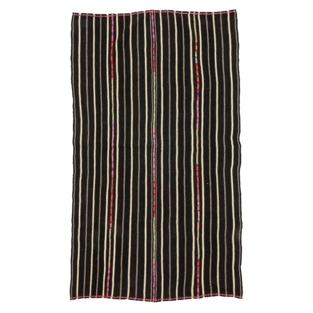 1960s Vintage Striped Black Kilim Rug- 4′9″ × 8′2″ For Sale
