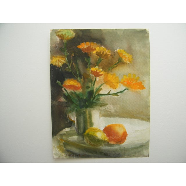 Vintage Still Life Svensto Watercolor Painting - Image 2 of 9