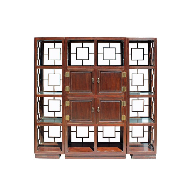 2010s Chinese Set of 3 Vintage Elm Wood Glass Shelf Display Curio Cabinet Room Divider For Sale - Image 5 of 8
