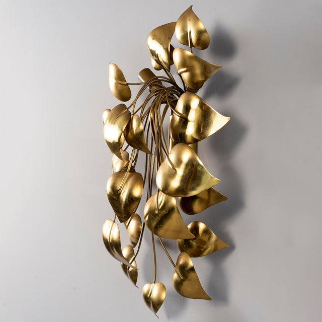 Cascading Leaves Gilt Metal Light Fixture Attributed to Maison Jansen For Sale - Image 12 of 13