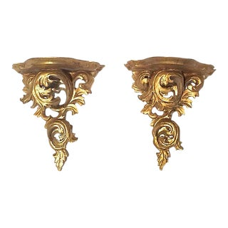 Vintage Italian Acanthus Leaf Wall Shelves - a Pair For Sale