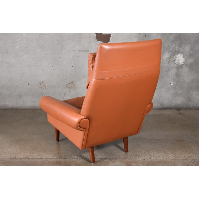 Kurt Ostervig Danish High Back Leather Lounge Chair For Sale - Image 4 of 6