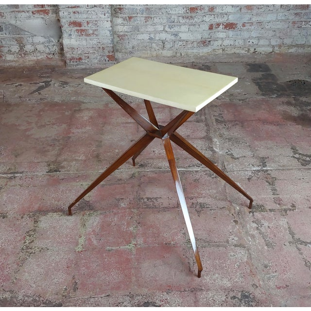 Mid Century Modern Geometric Side Table With Goatskin Top For Sale - Image 10 of 10
