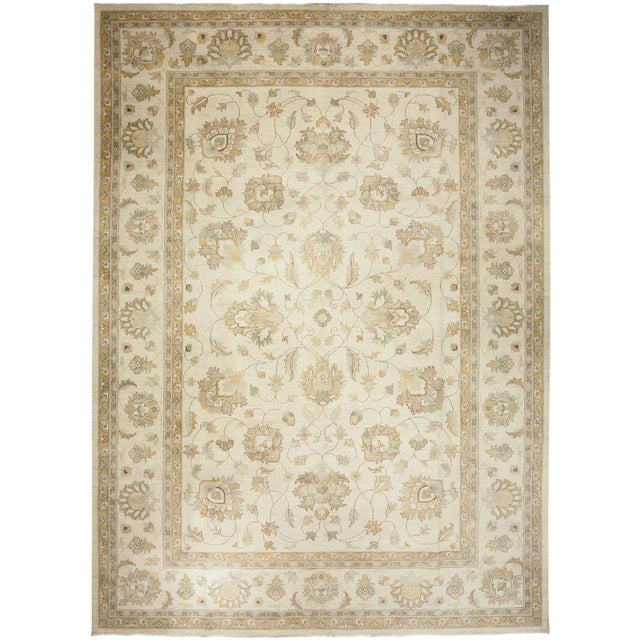 One-Of-A-Kind Traditional Oriental Silky Oushak Hand-Knotted Area Rug, Linen, 10' 1 X 13' 10 For Sale