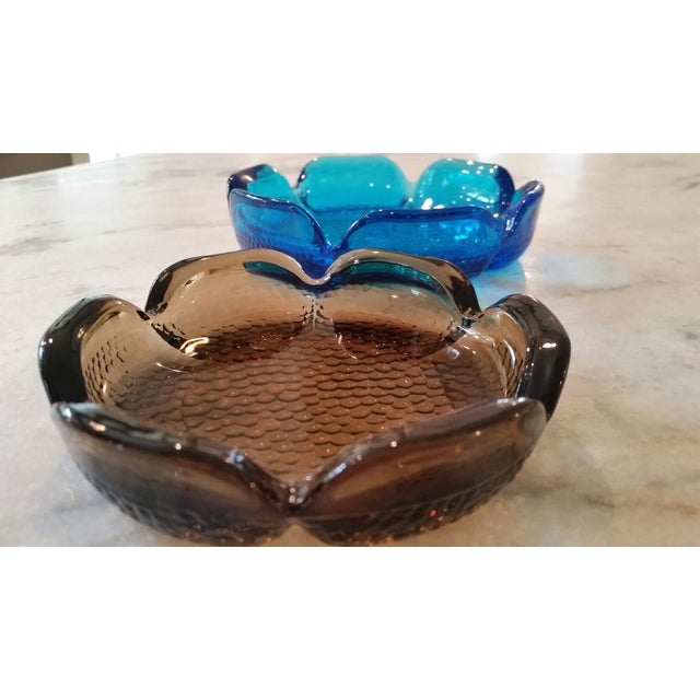 Mid-Century Modern Blue & Amber Trinket Catchers - A Pair - Image 4 of 8