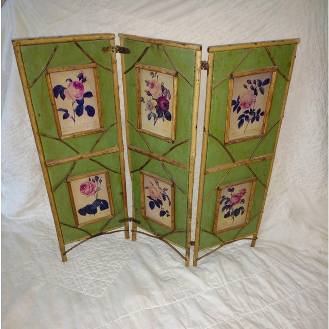 Antique Chinoiserie Green Floral Bamboo Table Screen For Sale - Image 9 of 9