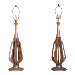 Mid Century Danish Modern Solid Teak Lamps- a Pair For Sale