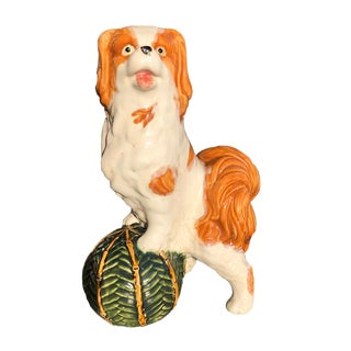1950s Vintage Staffordshire Style Dog With Ball Porcelain Ceramic Animalia Figurine For Sale