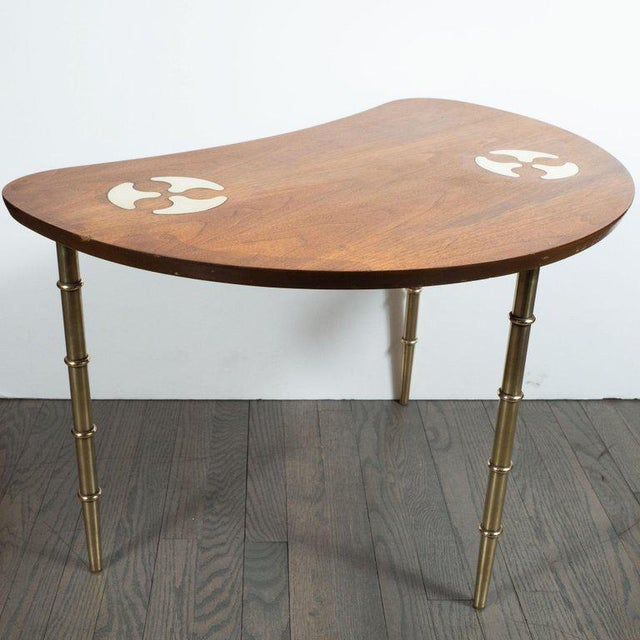 Mid-Century Organic Inlaid Brass & Walnut Bowfront Side/End Table by Mastercraft For Sale In New York - Image 6 of 10
