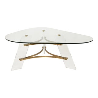 1960s Contemporary Charles Hollis Jones Brass and Lucite Coffee Table