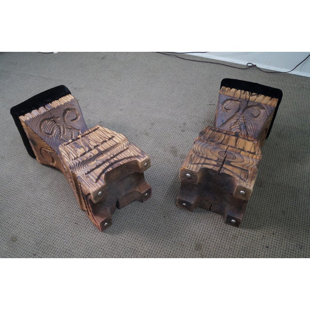 Vintage 1970s Witco Carved Tiki Bar Stools -- A Pair - Image 10 of 10
