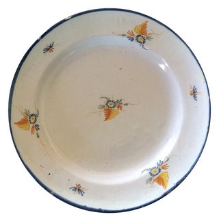 Antique Blue & Yellow French Platter For Sale