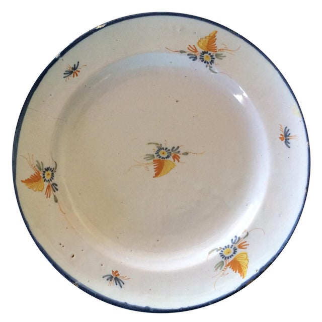 Antique Blue & Yellow Provence Platter For Sale