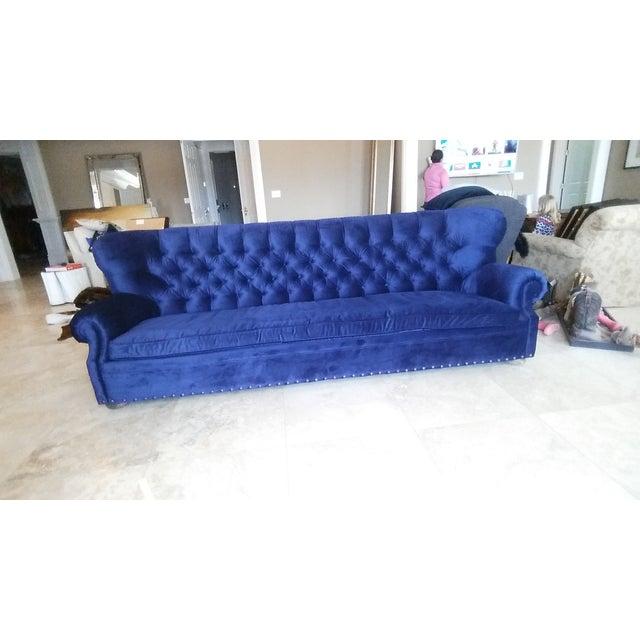 Restoration Hardware Churchill Blue Velvet Sofa - Image 2 of 7