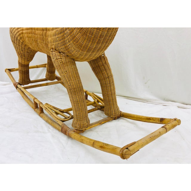 Early 20th Century Vintage Wicker & Rattan Rocking Horse For Sale - Image 5 of 12